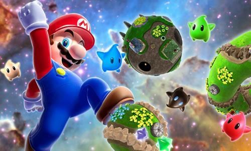 Mario floating in space, near a big Mario shaped planetoid in Super Mario Galaxy